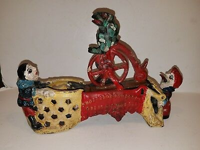 Antique Cast Iron Mechanical Toy Bank Frog Bicycle Professor Pug