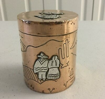 VICTORIA TAXCO Mixed Metals BOX Canister Copper & Silver Vintage Folk Art Mexico