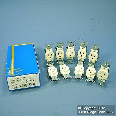 10 New Leviton Almond COMMERCIAL Single Outlet Receptacles 5-15R 15A 125V 5015-A