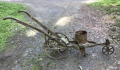 Antique Horse Drawn Walk Behind Single Row Corn Planter Farm Yard