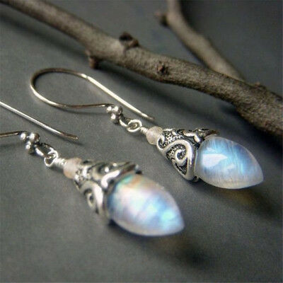 925 Silver White Fire Opal Women Trendy Jewelry Gift Party Ear Dangle Earrings