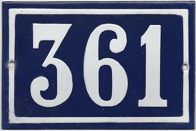 Old blue French house number 361 door gate plate plaque enamel steel metal sign