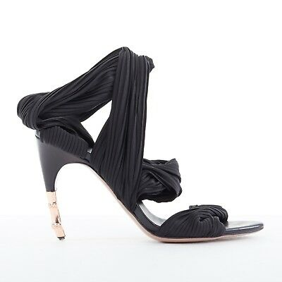 1a4dee0bcf5b GUCCI Vintage copper-tone metal bamboo heel black pleated wrap sandals  EU35.5