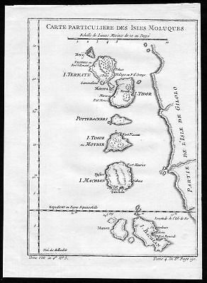 1750 Molukken Maluku Islands Asia Indonesia map Kupferstich engraving Bellin