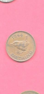 Great Britain Gb Uk Km843 1944 Vf-Very Fine-Nice Old Wwii Farthing Bird Coin