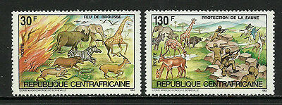 Central Africa #631-2 Mint Never Hinged Set - Wild Animals
