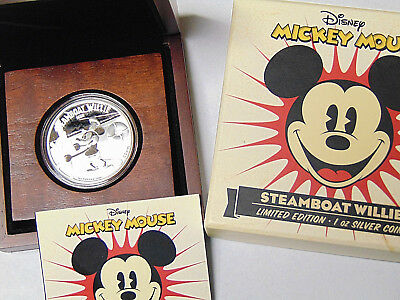 Proof 2014 Disney Mickey Mouse Steamboat Willie 1 oz .999 Fine Silver $2 Niue
