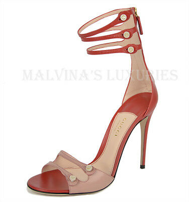 9f905baec2fd  995 Gucci Shoes Leather Gladiator Gg Logo Mother Of Pearl Button Sandals  38 8
