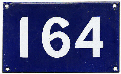 Old Australian used house number 164 door gate enamel metal sign in French blue