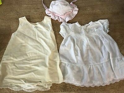 Lot of 5 Pieces Girl Baby Clothes Cotton Slip Smocked Dresses Bonnets Bloomers