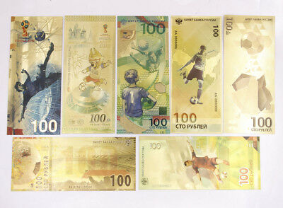 7 Pcs 2018 Football World Cup Russia 100 Rubles Banknote Gold Crafts Gift New