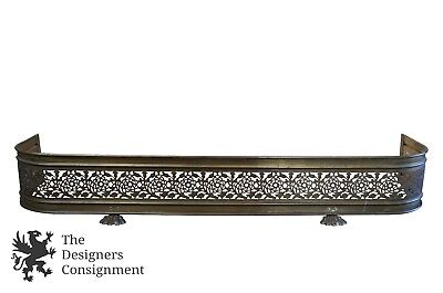"38"" Antique Floral Pierced Brass Fireplace Fender Paw Foot Victorian Hearth"