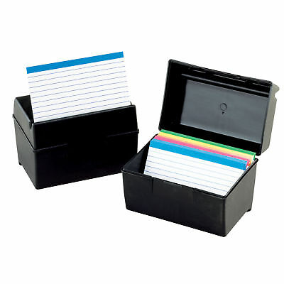 Oxford Plastic Index Card Flip Top File Box Black