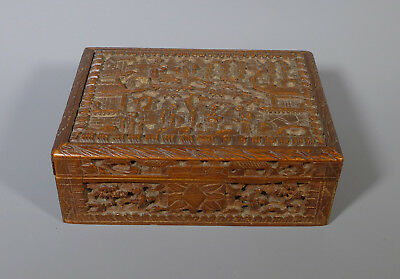 Small Antique Chinese Canton Carved Sandalwood? Wooden Box