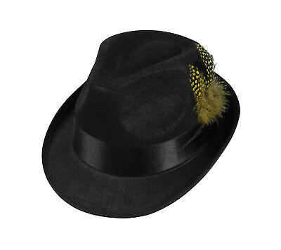 32dfcecb488 Hip Hop Felt Black Top Hat 80 S Fedora Hipster Blues Brothers Costume  Accessory