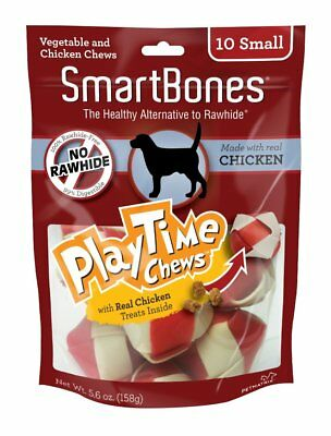 SmartBones PlayTime Entertainment Dog Chewable Chicken Treats Safe Small 10Pk