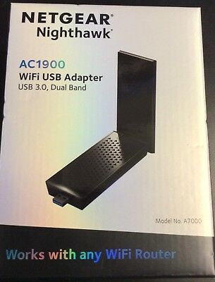 NETGEAR NIGHTHAWK A7000 (AC1900) Dual-Band Wi-Fi USB Adapter, New in Retail  Box