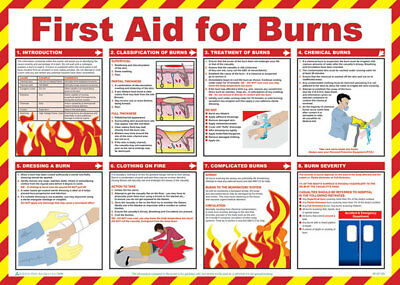 Click Medical First Aid For Burns Treatment UK Health and Safety A2 Size Poster