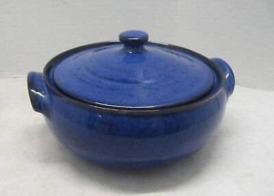Casserole Dish Stoneware Pot with Lid Pottery Blue and Black Glaze