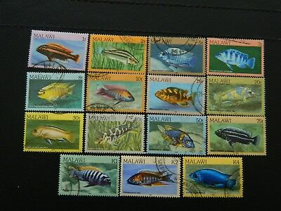 Malawi Stamps SG 688/702 complete set of 15 GU issued 1984 Tropical Fish 1t/4k.