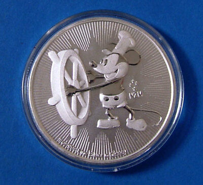 2017 Mickey Mouse Steamboat Willie Niue 1oz 999 Fine Silver $2 Coin