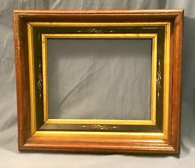 Antique Beautiful Walnut & Gold Etched Black 8 X 10  Victorian Frame