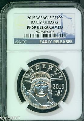 2015-W $100 PLATINUM STATUE  LIBERTY 1 Oz. NGC PF69 PROOF PR69 EARLY RELEASES ER