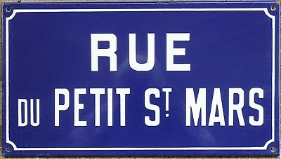 Old French enamel street sign plaque road name Petit St Saint Mars Etampes 1970s