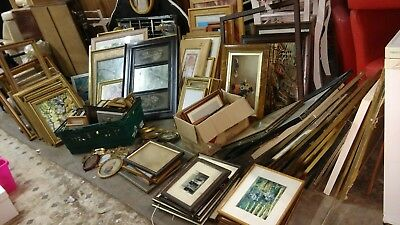 job lot of 200+ frames vintage / antique / modern big to small paintings picture
