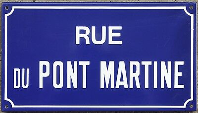 Old French enamel street sign plaque road name bridge Pont Martine Etampes 1970s