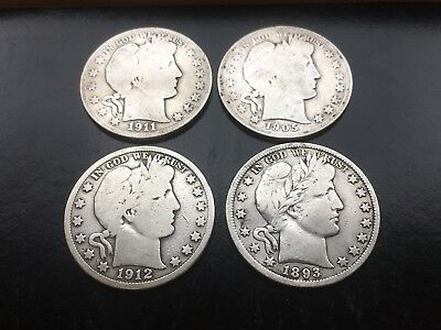 Lot of 4 Barber Half Dollars - 1893, 1912, 1905-S, and 1911-S - US Coins