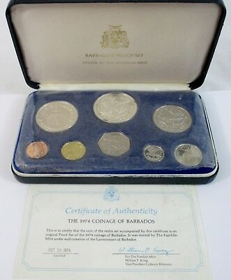 IOB Vintage 1974 Barbados Proof Set Struck by The Franklin Mint (589-J)