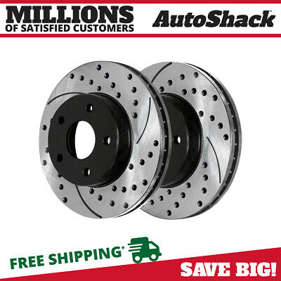Drilled Slotted Rotors Front 2 Metallic Brake Pads Fits 04-2008 Ford F-150 4