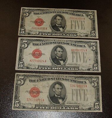 Three 1928 $5 Five Dollar Red Seal Notes - Series 1928 C, 1928 E, 1928 F