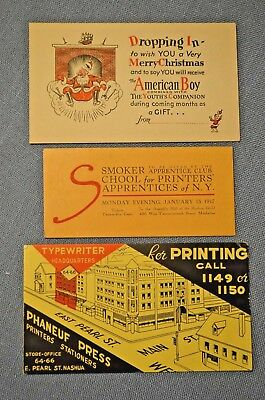 Lot of 3 Blotters; School for Printers, Phaneuf Press, 'The American Boy'