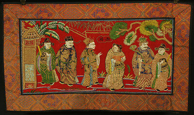 A BEAUTIFUL antique CHINESE SILK BROCADE EMBROIDERY BANNER FIGURES 19TH CENT #1