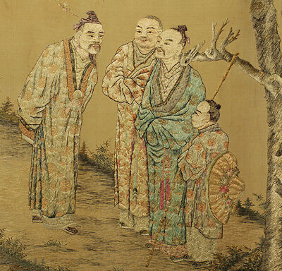 A BEAUTIFUL antique CHINESE SILK BROCADE EMBROIDERY FIGURES