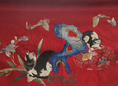 A TOP QUALITY antique CHINESE SILK EMBROIDERY BANNER CATS GOLD FISH 19TH CENTURY