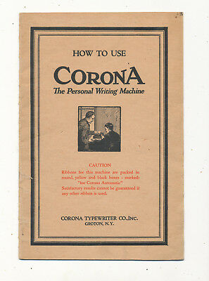 M1290 1923  Booklet How To Use  Corona Writing Machine Typewriter