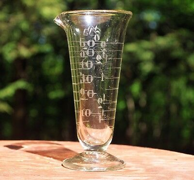 Vintage BLOWN Glass APOTHECARY Pedestal Beaker ARMSTRONG CORK Engraved Numbers