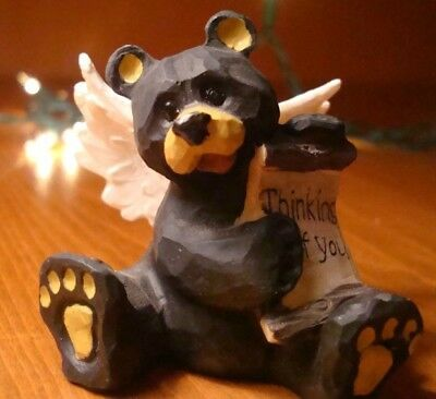 THINKING OF YOU Lodge Faux Wood Carved BLACK BEAR ANGEL Cabin Figurine Decor NEW