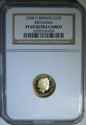 2008 1/10 toz .999 Gold G10P Great Britain Brittania ~ NGC PF69 Ultra Cameo