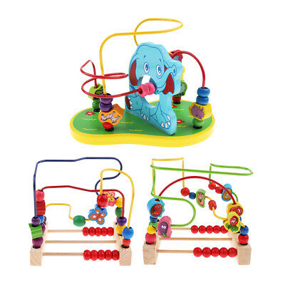 Hot Children Kids Baby Colorful Wooden Mini Around Beads Educational Game