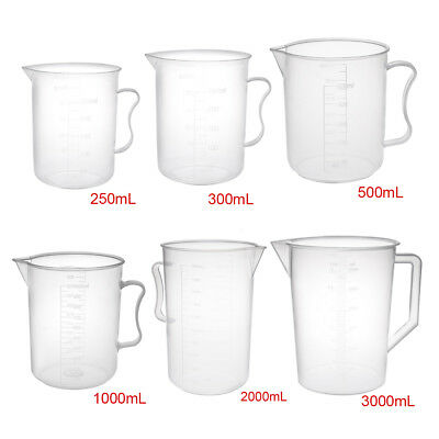 Clear 250 300 1000 2000ml PP Plastic Graduated Measuring Cup Lab Kitchen Beaker