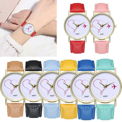Womens Casual Love's Leather Band Analog  Alloy Quartz Round Wrist Watch Watches