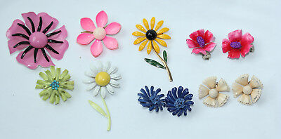 Vintage Enamel Retro DAISY Hippy Flower Power Brooch Pins Clip-On Earring LOT