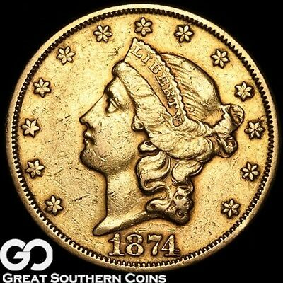 1874-S Double Eagle, $20 Gold Liberty, San Francisco Gold Issue * Free Shipping!