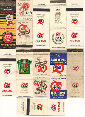 15 Red Owl Matchbooks 9 Different