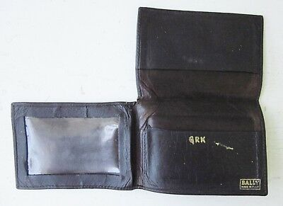 Bally Italy Vintage Calfskin Leather Logo Wallet Small Tri-Fold Id Credit Card
