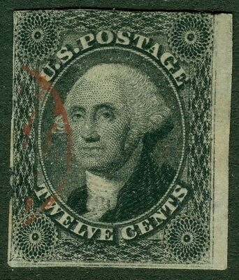 EDW1949SELL : USA 1851 Scott #17 Used. Light Red cancel. Small faults. Cat $280.